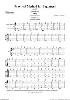 Piano Sheet Music for Beginners | ... for Beginners Op.599, (COMPLETE) sheet music for piano solo by Czerny