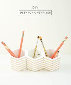 hexagonal DIY desktop organizer - Sugar & Cloth