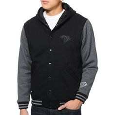 Diamond Supply Co black and grey mens hooded fleece varsity jacket. My boyfriend would look hot in this