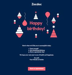 Choose a different color scheme! ZocDoc breaks away from its usual template, going with bolder colors. E-mail Design, Book Design Layout, Cover Design, Email Template Design, Email Templates, Newsletter Templates, Graphic Design Posters, Modern Graphic Design, Happy Birthday Email