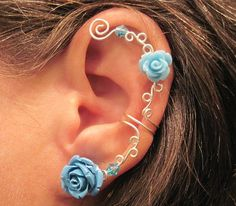 Non Pierced Ear Cuff  Roses are Blue by ArianrhodWolfchild on Etsy, $12.00