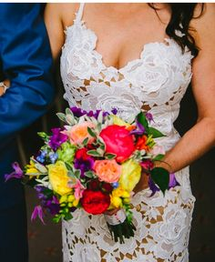 Small and bright bouquet. Image: Ed Godden #rainbow #wedding #flowers
