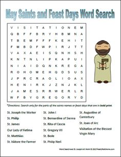 Free word search printable featuring May saints and feast days perfect for Catholic kids. Use as a standalone activity or try the suggested follow up activities as well. | RealLifeAtHome.com