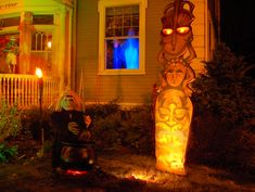 Painted 2-D with lights in the yard - Tiki Halloween circa 2005 (plus: VOLCANO!)