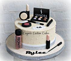 Makeup Cake Buttercream cake with fondant details Makeup Birthday Cakes, 13 Birthday Cake, Birthday Cakes For Women, Birthday Kids, Girly Cakes, Fancy Cakes, Iphone Cake, Cake Designs For Girl, Fondant Cake Designs