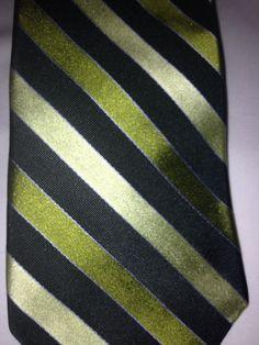 Express Design Studio Green Striped Italian Silk Neck Tie Made In The USA #ExpressDesignStudio #NeckTie