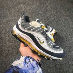 68bdb112040e Purchase 2018 Nikelab Air Max 98 On The Hand 640744 004 Navy White Maize  Shoe
