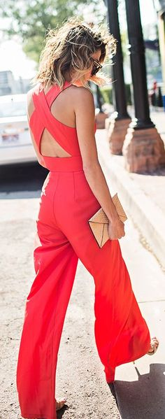 Red Crossing Back Jumpsuit Shopping Chic Summer Outfit Idea by Hello Fashion