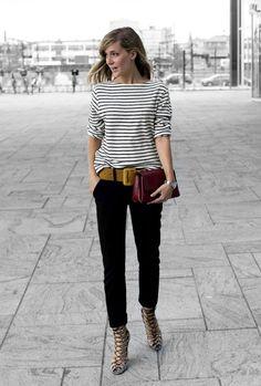 Mustard and burgundy- striped tunic, black pants, mustard scarf, burgundy bag