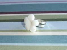 Bright White Shimmering Adjustable Ring | JanellDunlapJewelryDesigns - Jewelry on ArtFire