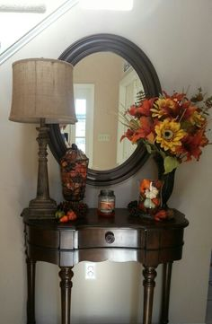 fall foyer table decor fall flowers gourds pinecones - Foyer Decor