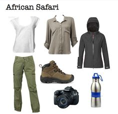 African safari outfit plus hat gloves and a couple of fleeces for those early morning bush rides in the South African winter! Moda Safari, Safari Chic, Safari Outfits, Safari Clothes, African Holidays, Hiking Essentials, Safari Adventure, Travel Wardrobe, African Safari