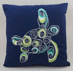 This beautiful high quality decorative pillow cover (18x18) is embroidered using manual machine embroidery. It is made from Navy Blue cotton fabric