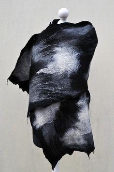 Felted scarf shawl  silk wool nuno felt by AleksandrabWiniarska