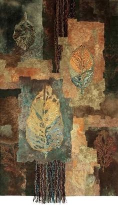 """""""Autumn Crossing"""" by Colorado Mixed Media Abstract Artist Carol Nelson This painting is Mixed Media on Canvas and is no longer available but commissions are welcome! Tea Bag Art, Embroidery Leaf, Creative Textiles, Quilt Modernen, Textile Fiber Art, Fiber Art Quilts, Landscape Quilts, Leaf Art, Fabric Art"""