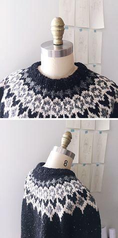 2017 FO-1 : Black yoke sweater Sweater Knitting Patterns, Knit Patterns, Knit Crochet, Crochet Hats, Icelandic Sweaters, Knitting Projects, Knitting Ideas, Fair Isle Knitting, Black Knit