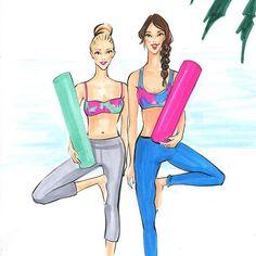 Yoga besties! Fashion illustration by Rongrong DeVoe. More fashion wall art at www.rongrongillustration.etsy.com