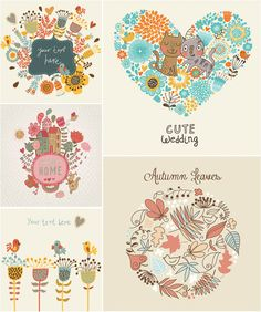 Hand drawn decorative floral cards vector