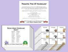 Liz's Speech Therapy Ideas: Targeted Tier II Vocabulary Words - TPT Unit $ - target vocabulary words and activities.  2nd, 3rd, 4th, 5th grades