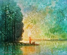 Beside Quiet Waters is a painting that depicts Jesus Christ standing on a shore looking at the stars - Yongsung Kim Paintings Of Christ, Jesus Painting, Images Of Christ, Pictures Of Jesus Christ, Site Art, Christian Artwork, Christian Artist, Christian Quotes, Lds Art