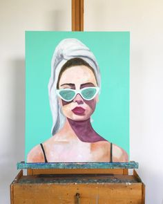 Something new on the easel today 🎨🐬 Instagram Artist, Something New, Beach House Decor, Easel, Cat Eye Sunglasses, Summertime, Contemporary Art, Portraits, Cats