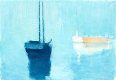 """Gustav Rudberg 1915-2001 """"Blue Boat, Hven"""""""