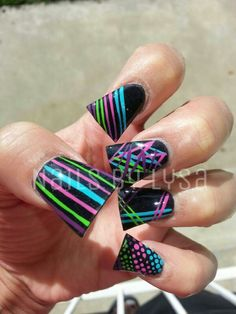 Flared Nails with nail art by Lysa