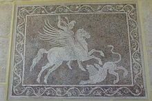 Pebble mosaic depicting Bellerophon killing the Chimera, from Rhodes archaeological museum