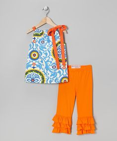 Take a look at this Blue Festival Tunic & Orange Ruffle Capri Pants - Toddler & Girls by Heather Feather on #zulily today!