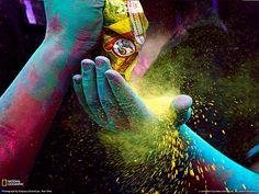 Holi festival India colored powders