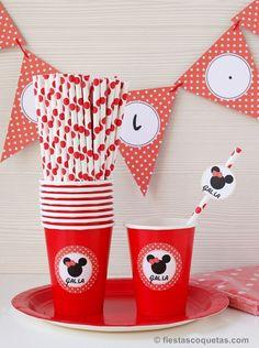 Decoración para una fiesta de la Minnie Mouse de venta en: http://shop.fiestascoquetas.com