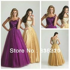 Hot Selling Custom Made Modest Ball Gown Purple Champagne Prom Dress With Sleeves 2013 New Arrival