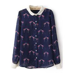 Dark Blue Chiffon Peter Pan Collar Crane Print Shirt (€20) ❤ liked on Polyvore featuring tops, long sleeve shirts, blue shirt, chiffon top, print shirts and shirts & tops
