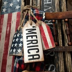 Merica Wood Tags Rustic Decor Wood American Flag Sign Americana Country Decor Distressed Cabin Decor of July Decor Sign Set - - Americana Crafts, Patriotic Crafts, July Crafts, Summer Crafts, Holiday Crafts, Primitive Crafts, Holiday Ideas, Fourth Of July Decor, 4th Of July Decorations