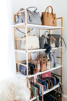 Haute Off The Rack Office Closet Tour + an vegan leather and gold office chair giveaway, white desk, Gigi New York Date Book, Handbag Gold Shelf Display,
