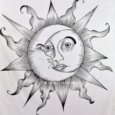 Black and White Sparkling Sun Moon Wall Tapestry, Fringed Sun Bedding