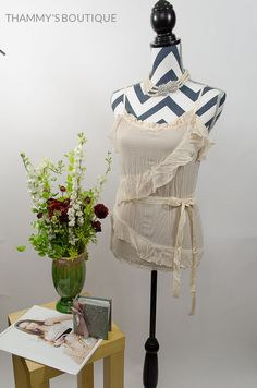 Free Shipping on Ebay Only!!  Girls Ladies Women Romantic Crinkle Tie Top Grey & Cream Color Free Shipping