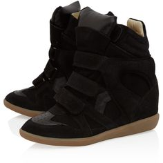 Isabel Marant Black Bekett Suede Wedge Trainers ($565) ❤ liked on Polyvore