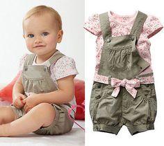 menina dos miúdos criança algodão verão floral t  superior camisa macacão roupas para crianças conjunto em Coletes de Bebê - Meninas de Roup...