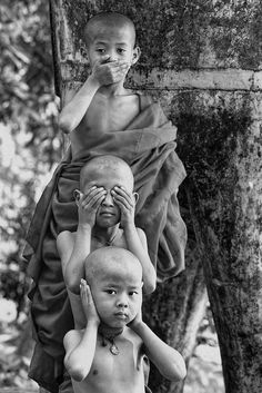 "Life, Myanmar - ""See no evil, hear no evil, speak no evil..."" Photo by Ye Tun. Now linked to the original colour image. °"