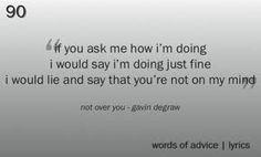 """""""Not Over You,"""" Gavin DeGraw lyrics"""