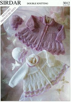 Baby Matinee Jacket & Hat in DK 8 ply for Sizes 12 to 20 ins - Vintage Style Knitting Patterns PDF Instant Download