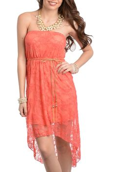 DHStyles Women's Coral Sexy Classy Strapless Lace Dress with Rope Belt #sexytops #clubclothes #sexydresses #fashionablesexydress #sexyshirts #sexyclothes #cocktaildresses #clubwear #cheapsexydresses #clubdresses #cheaptops #partytops #partydress #haltertops #cocktaildresses #partydresses #minidress #nightclubclothes #hotfashion #juniorsclothing #cocktaildress #glamclothing #sexytop #womensclothes #clubbingclothes #juniorsclothes #juniorclothes #trendyclothing #minidresses #sexyclothing…