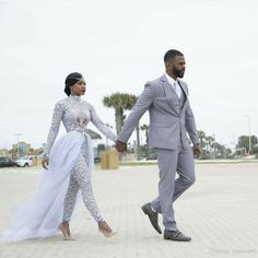 Luxury Plus Size 2019 Jumpsuits Wedding Dresses With Detachable Train High Neck Long Sleeves African Beaded Wedding Dress Bridal Gowns Halter Mermaid Wedding Dress Mermaid Beaded Wedding Dress From One Stopos, Wedding Pants, Wedding Attire, Lace Wedding, Wedding White, Mermaid Wedding, Summer Wedding, Wedding Gowns, 2017 Wedding, Gift Wedding