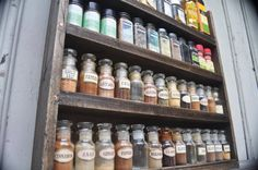 Rustic Home Decor Spice Rack by TheGreenCoyote on Etsy Essential Oil Storage, Cabinet Space, Spice Jars, Home Decor Items, Solid Wood, Spices, Rustic, Diy, Bricolage
