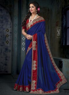 Awesome Patch Border Work Navy Blue Traditional Designer Saree