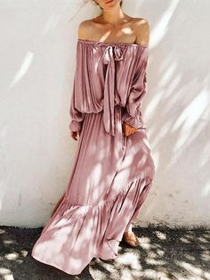 Sexy Boat Neck Bare Back Off-Shoulder Belted Belted Dress – modevova pretty casual dress,fashion style dress, summer casual dress Bohemian Summer Dresses, Casual Summer Dresses, Modest Dresses, Casual Dresses For Women, Maxi Dresses, Dress Summer, Long Dresses, Casual Outfits, Stitching Dresses