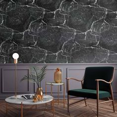 Immerse yourself by on Etsy Office Interior Design, Office Interiors, Entertainment Center Makeover, Guest Room Office, Room Decor, Wall Decor, Paper Wallpaper, Black Marble, Midcentury Modern