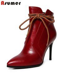 62.40$ Buy here - http://alio64.worldwells.pw/go.php?t=32719524116 - ASUMER sexy thin high heels pointed toe ankle boots for women popular solid colors bowtie wedding party shoes genuine leather 62.40$