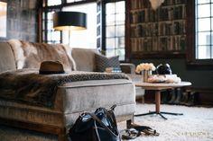 cityhomeCOLLECTIVE, Cody Derrick designed, living room, velvet sofa, wallpaper, masculine design